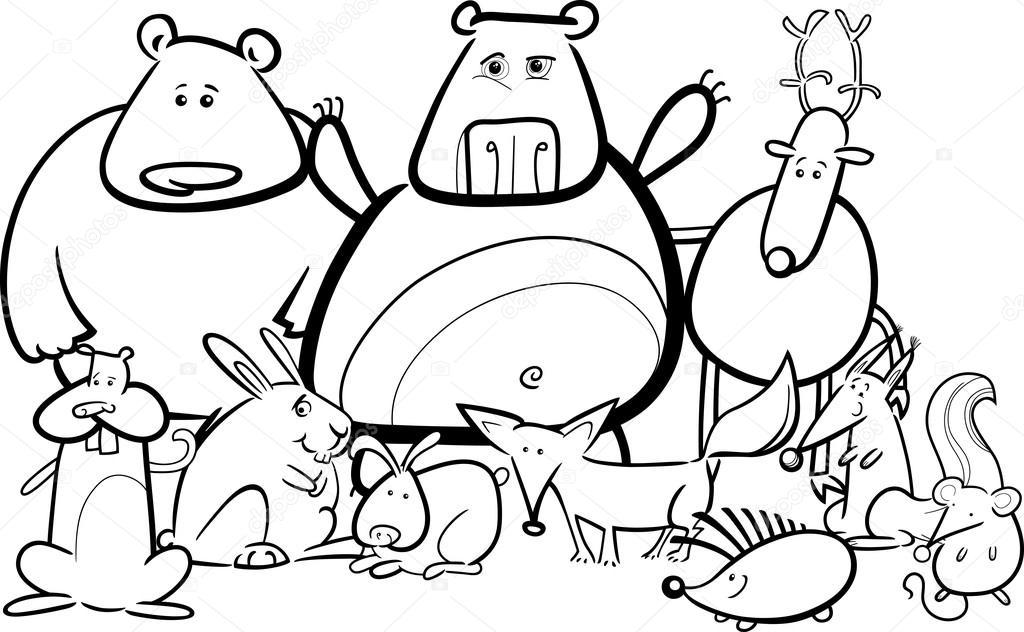 Grupo de animales para colorear | Grupo de animales salvajes para ...