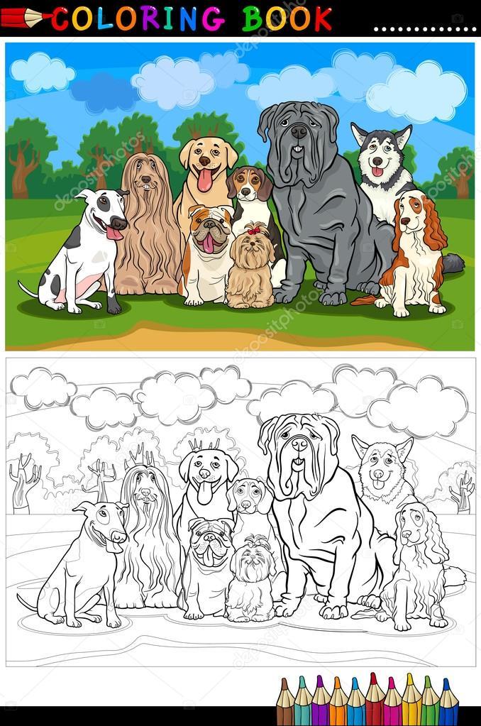 perros de raza de dibujos animados para colorear libro — Vector de ...