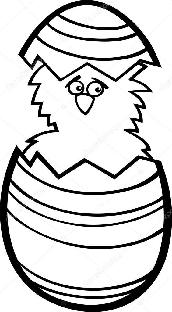pollo en huevo de Pascua dibujos para colorear — Archivo Imágenes ...