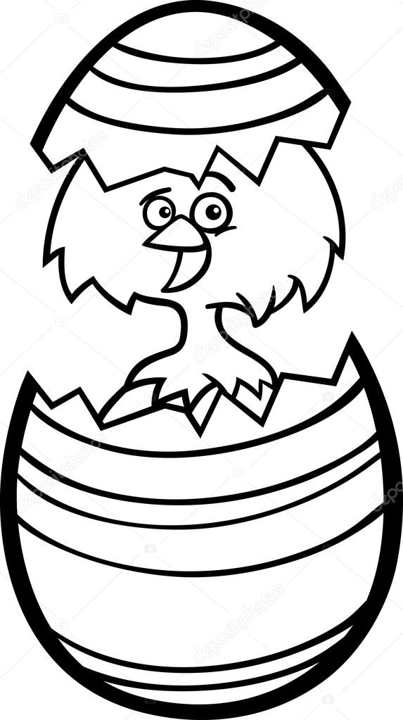 Chicken In Easter Egg Cartoon For Coloring Stock Vector