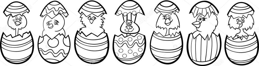 dibujos animados de gallinas de los huevos de Pascua para colorear ...
