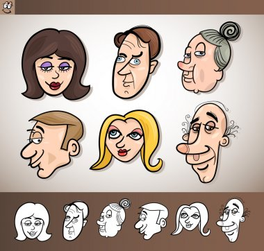 Cartoon heads set illustration