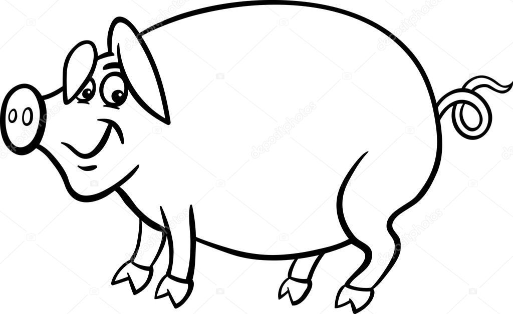 Coloriage Ferme Cochon.Caricature De Cochon De Ferme Pour Cahier De Coloriage Image