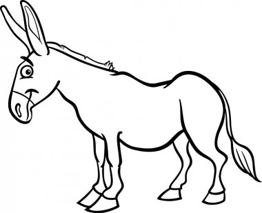 farm donkey cartoon for coloring book