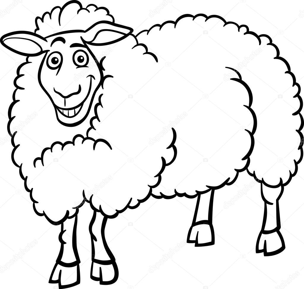 las ovejas de la granja de dibujos animados para colorear libro ...