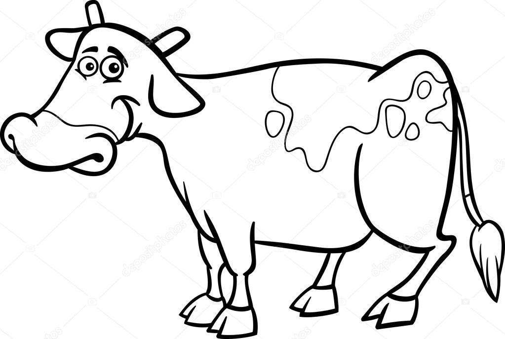 granja vaca de dibujos animados para colorear libro — Archivo ...