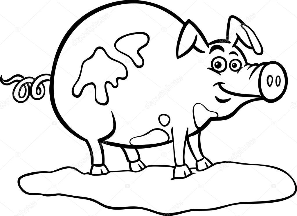 Animado: cerdo en el lodo para colorear   dibujos animados de cerdo ...