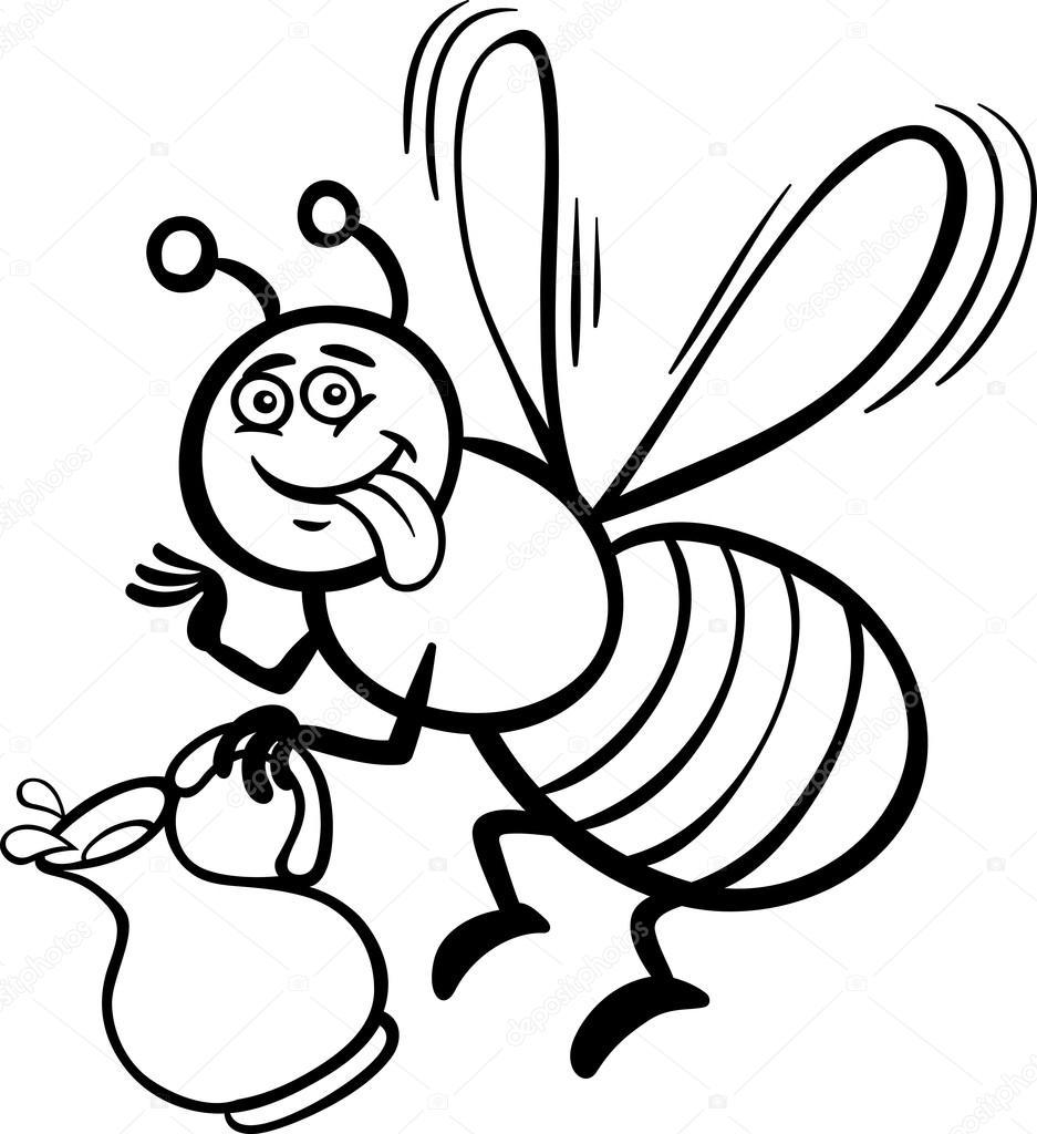 dibujos animados de abejas de miel para colorear libro — Archivo ...