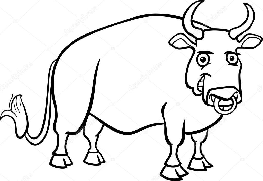 Boyama Kitabı Için çiftliği Boğa Karikatür Stok Vektör Izakowski