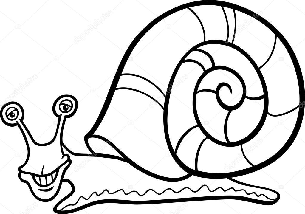 dibujos animados de molusco de caracol para colorear libro — Vector ...