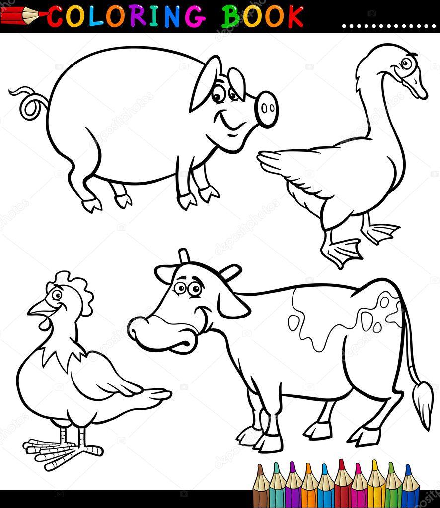 dibujos animados de animales de granja para colorear libro — Vector ...