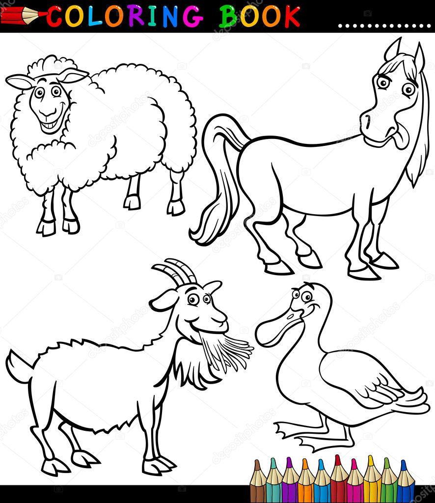 dibujos animados de animales de granja para colorear libro — Archivo ...