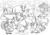 Fotografie Nutztiere cartoon für Malbuch