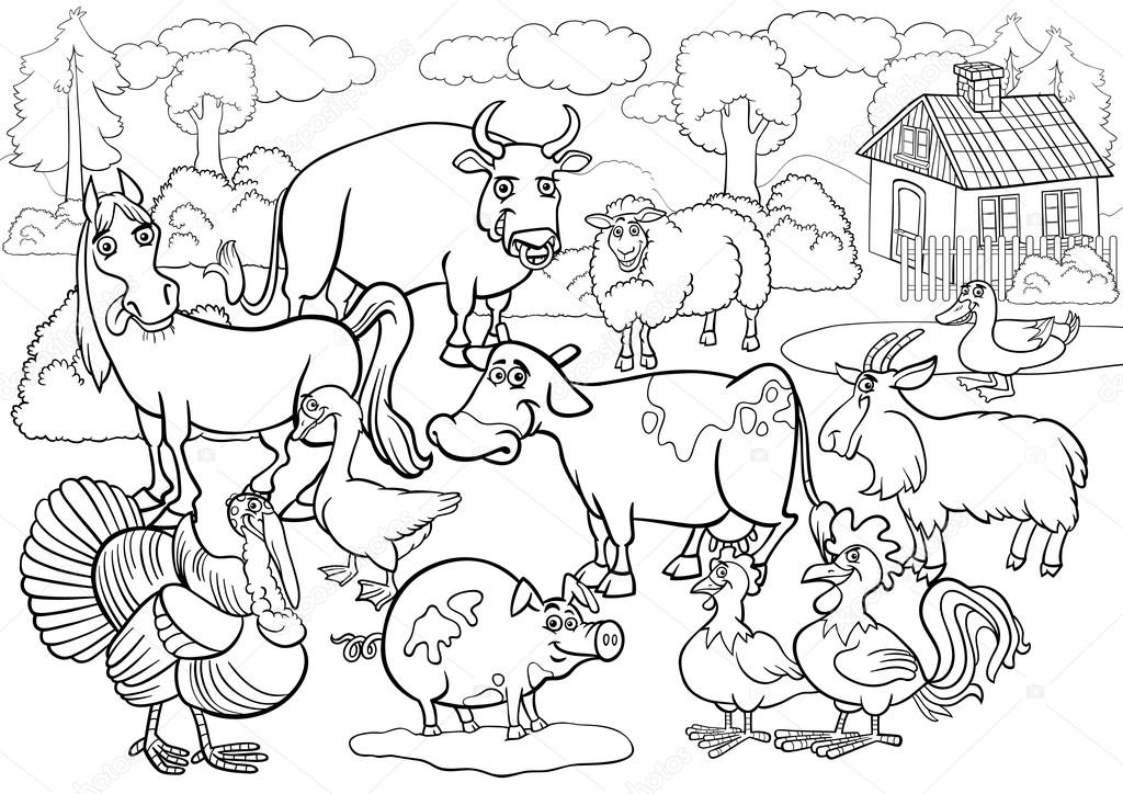 farm animals cartoon for coloring book — Stock Vector © izakowski ...