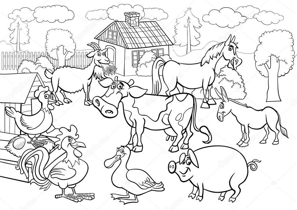 çiftlik Hayvanları Boyama Kitabı Için Karikatür Stok Vektör