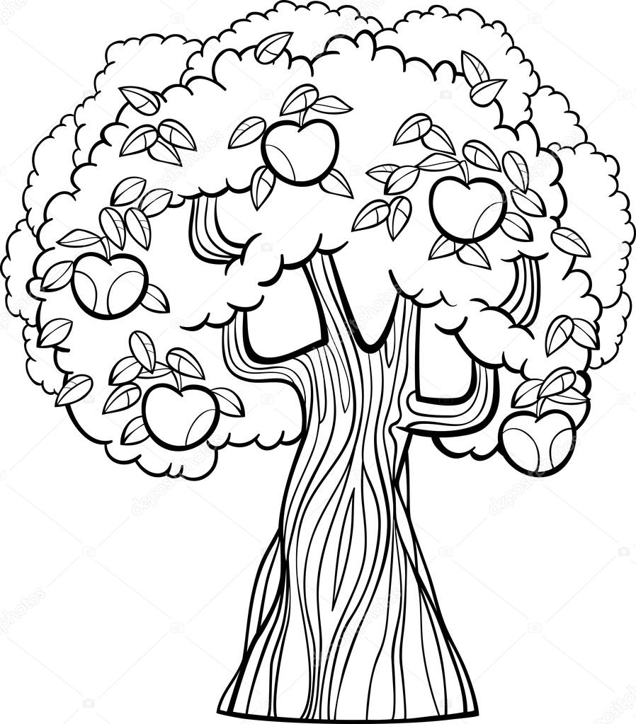 apple tree cartoon for coloring book — Stock Vector © izakowski ...