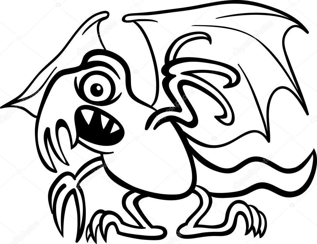 Cartone animato di mostro basilisco per libro da colorare