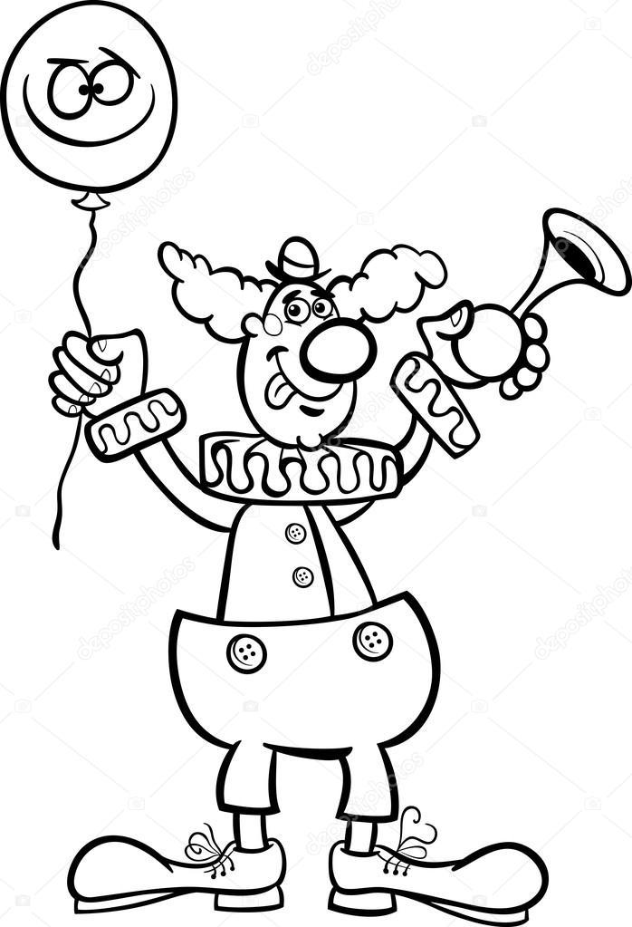 Palyaço Karikatür çizim Boyama Stok Vektör Izakowski 21160149