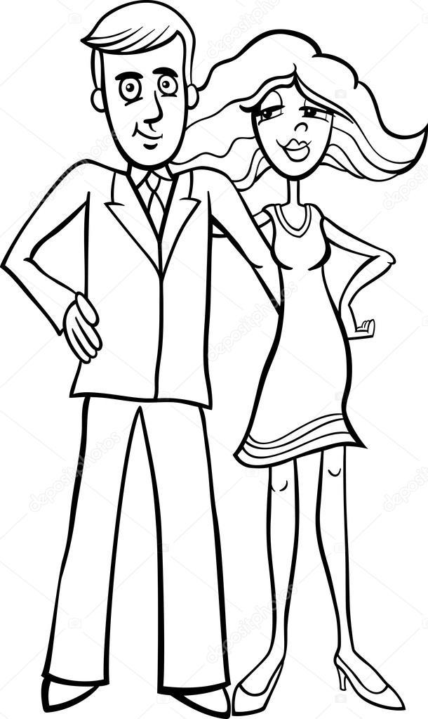historieta linda pareja para colorear — Archivo Imágenes Vectoriales ...