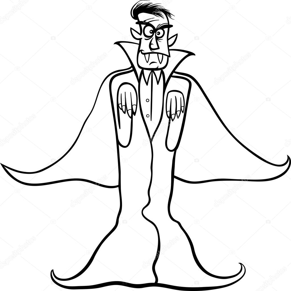 dibujos animados de vampiro Drácula para colorear libro — Archivo ...