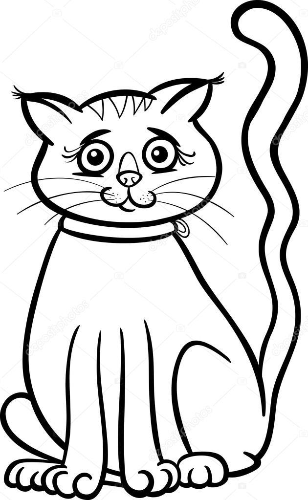 Dişi Kedi çizgi Film Boyama Kitabı Için Stok Vektör Izakowski