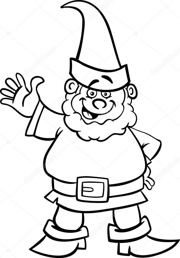 caricature de GNOME ou nain pour cahier de coloriage — Image ...