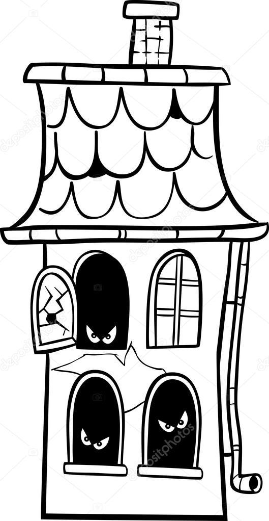 dibujos animados de la casa encantada para colorear — Vector de ...