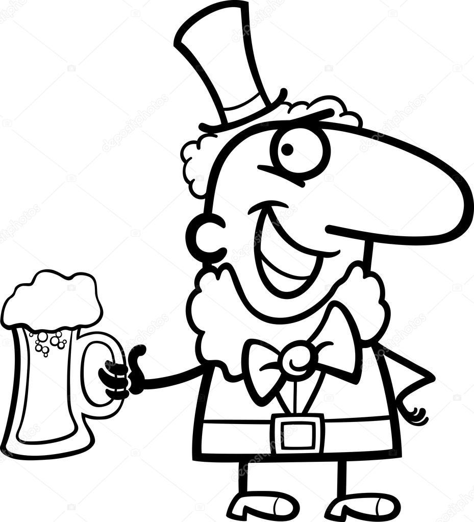 duende con dibujos animados de cerveza para colorear — Vector de ...