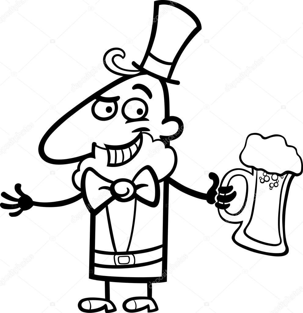 duende con dibujos animados de cerveza para colorear — Archivo ...