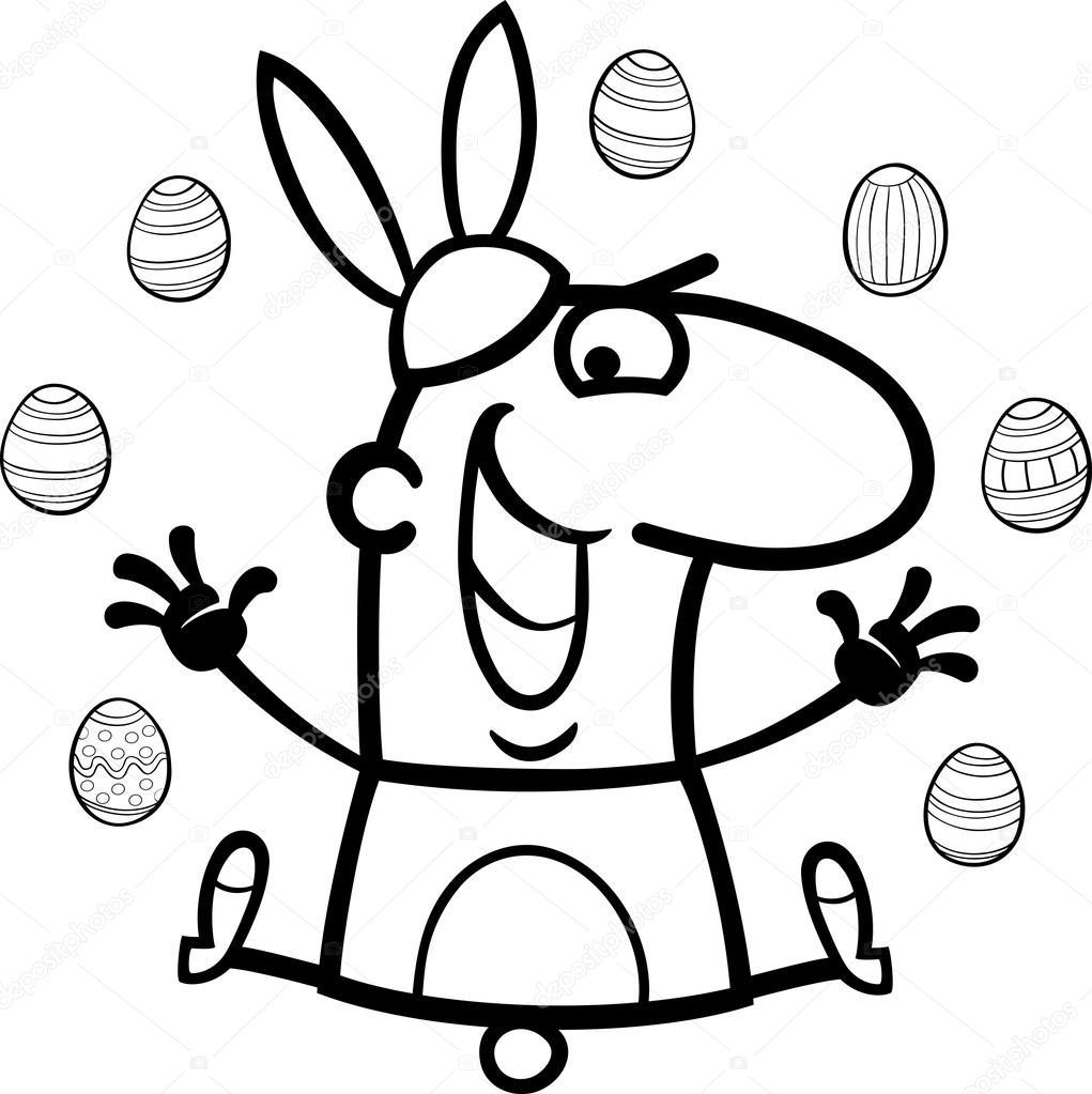 hombre como Pascua Conejo de dibujos animados para colorear ...