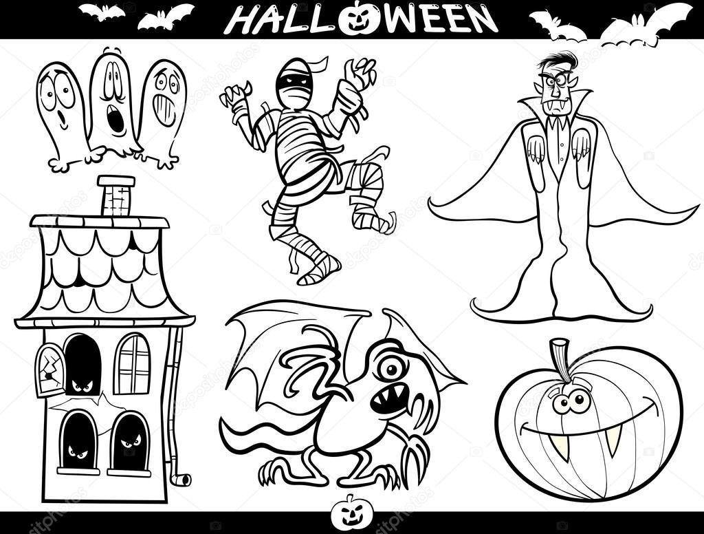 temas de dibujos animados de Halloween para colorear libro — Archivo ...