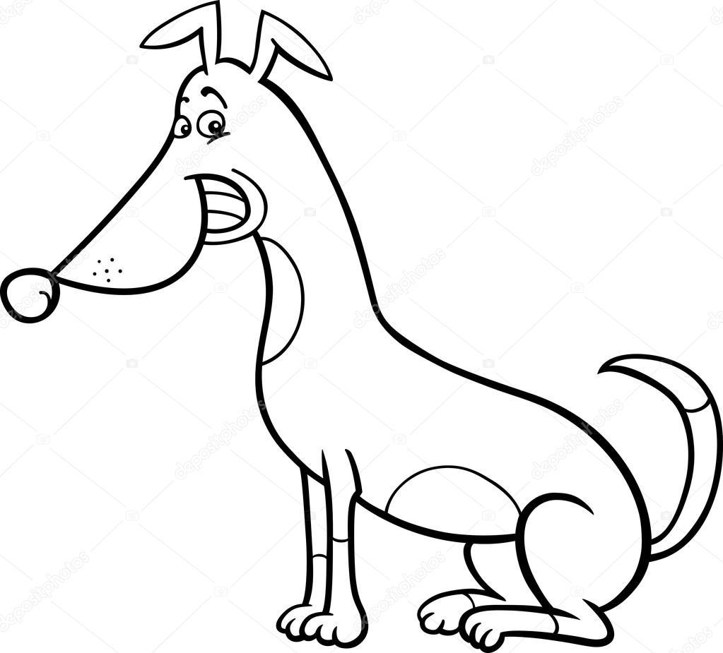 Seduta cartone animato cane per libro da colorare