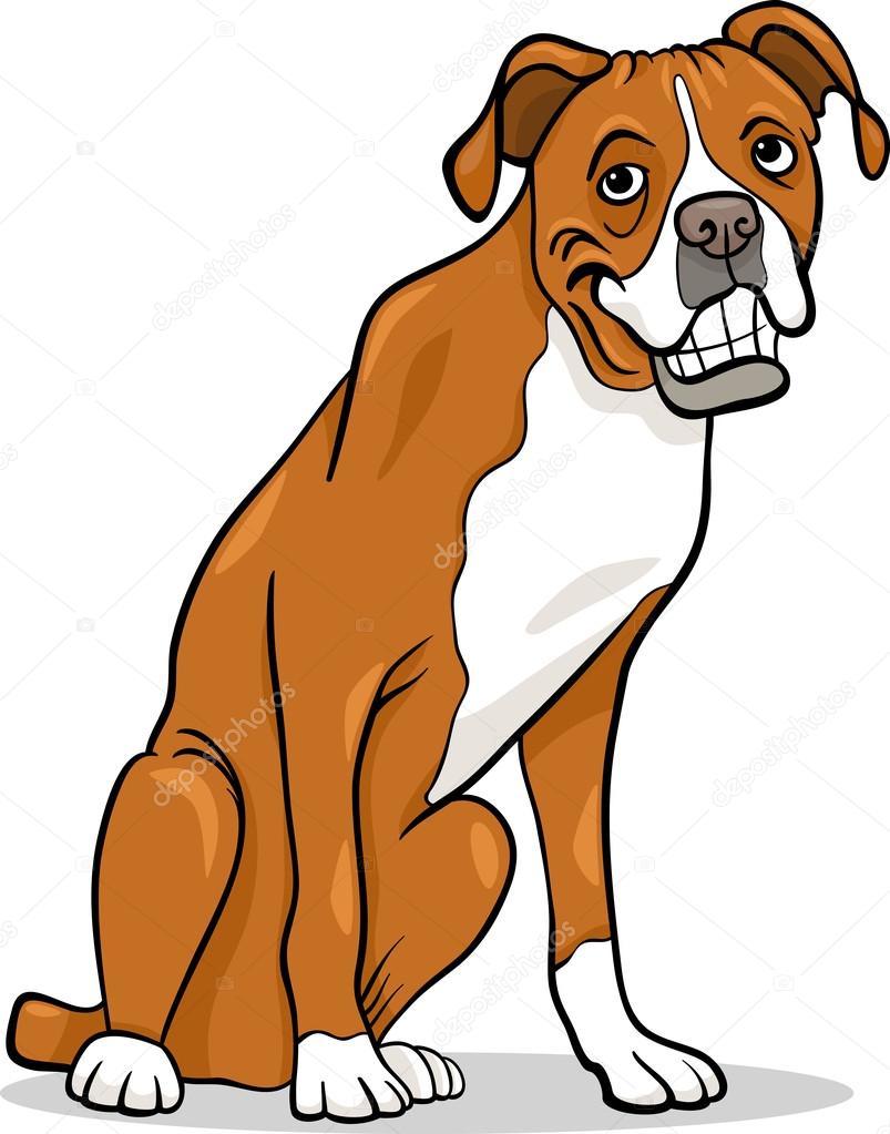 Illustrazione di cartone animato cane razza boxer