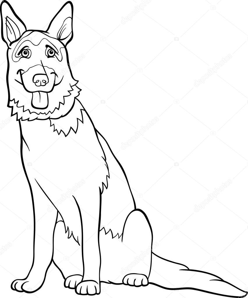 Kleurplaten Honden Duitse Herder.Duitse Herder Honden Cartoon Om In Te Kleuren Stockvector
