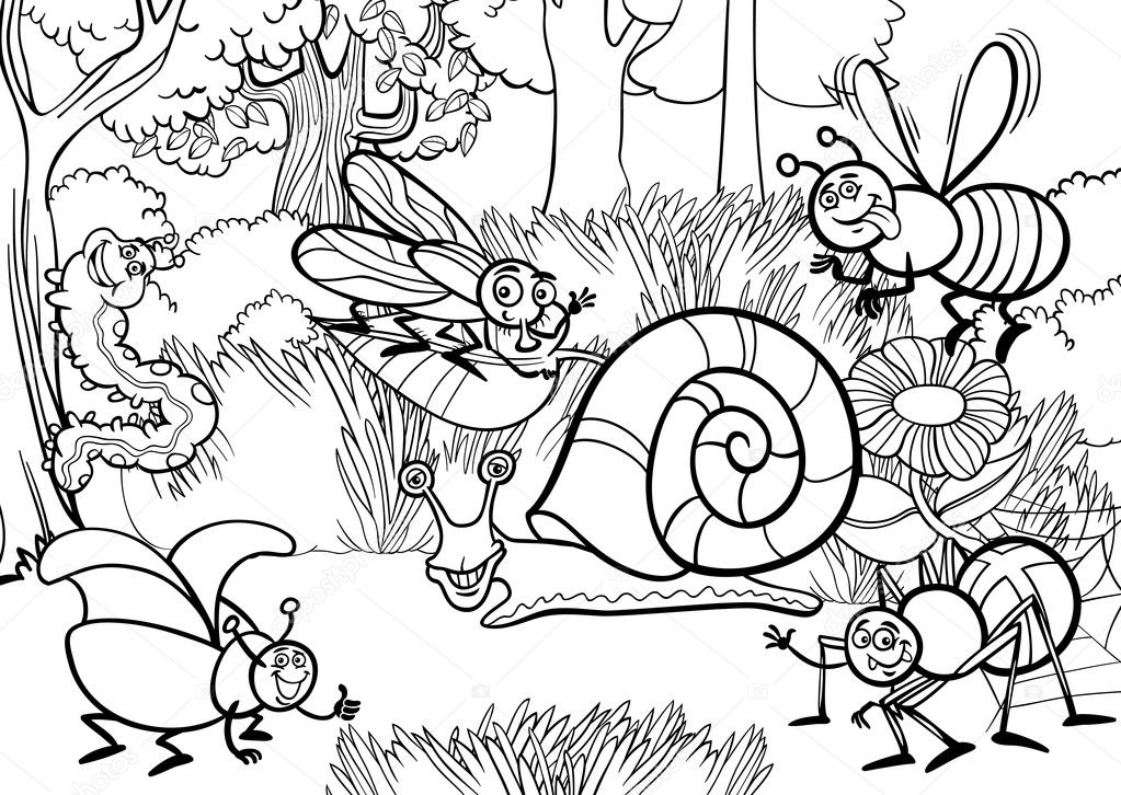 Cartoon Insects To Colour Cartoon Insects For Coloring Book
