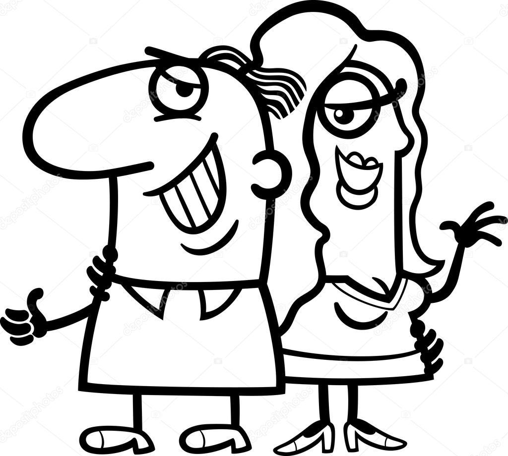 dibujos animados de blanco y negro pareja feliz — Archivo Imágenes ...
