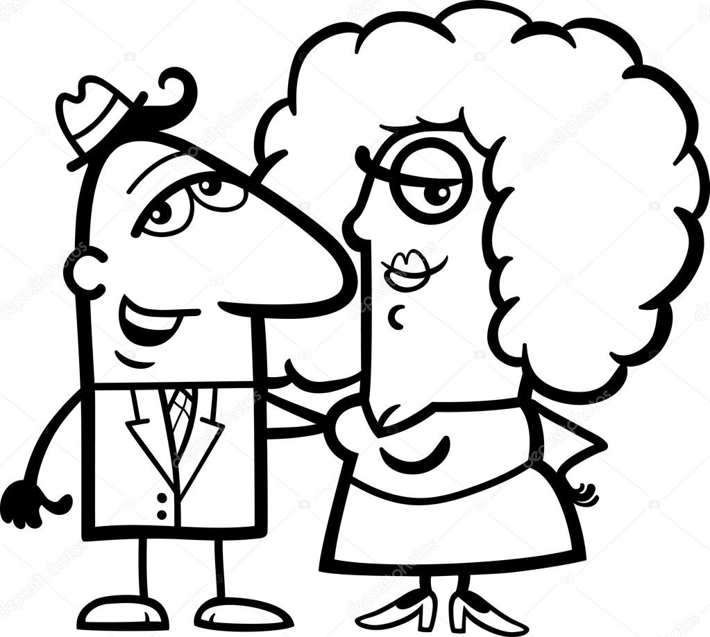 dibujos animados de blanco y negro pareja divertida — Archivo ...