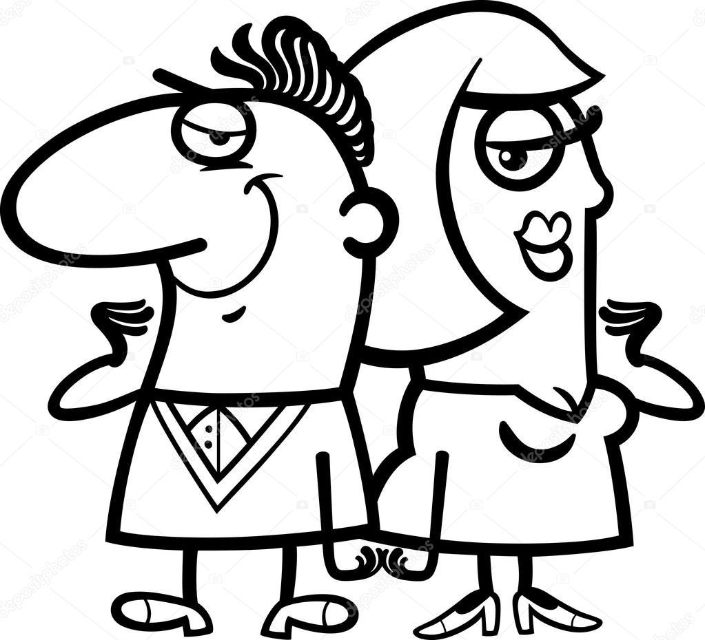 dibujos animados de blanco y negro pareja alegre — Archivo Imágenes ...