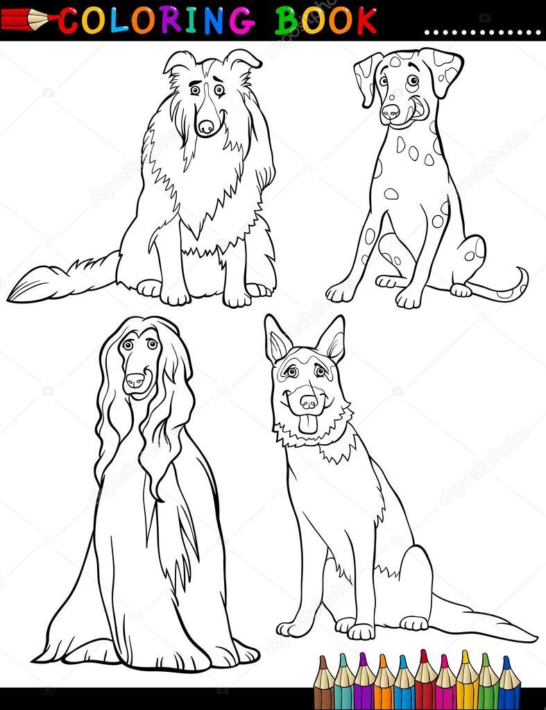 Kleurplaten Honden Duitse Herder.Cartoon Rasechte Honden Kleurplaten Pagina Stockvector