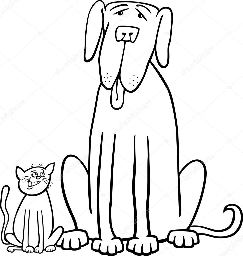 perro y gato de dibujos animados para colorear libro — Vector de ...
