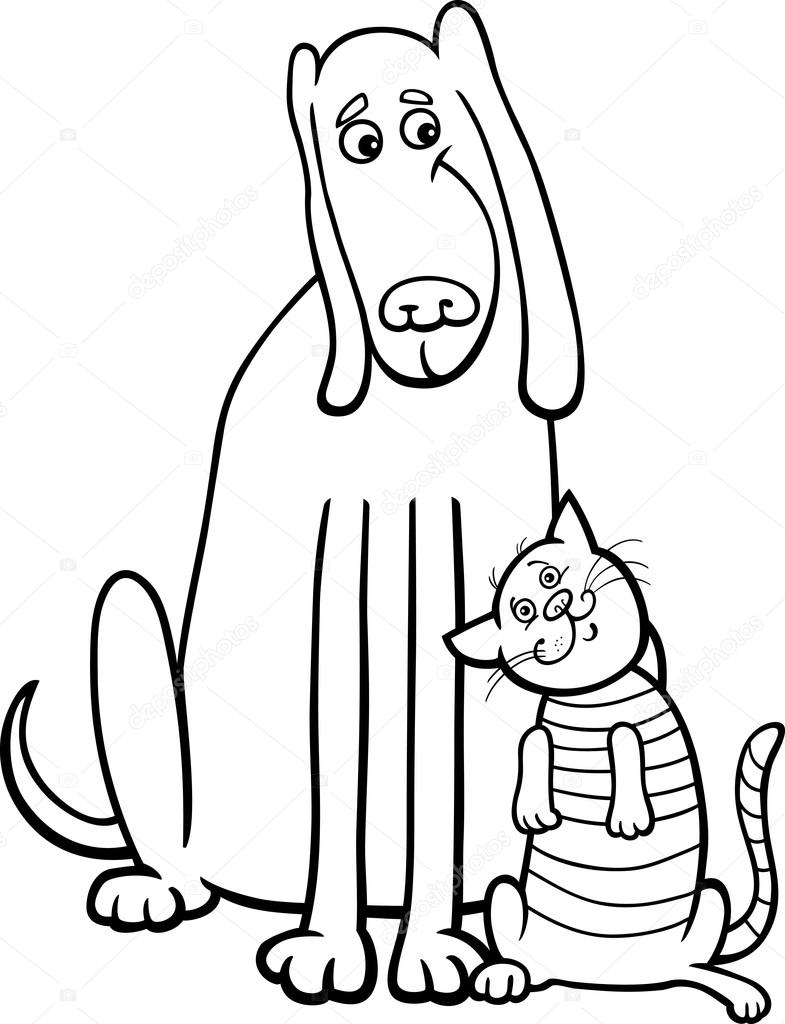 Cane E Gatto Cartoon Per Libro Da Colorare Vettoriali Stock