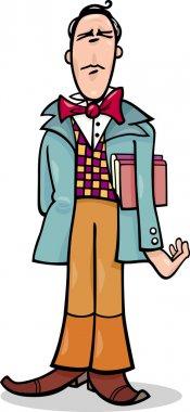Cartoon poet or eccentric man caricature