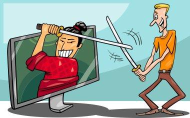 Cartoon man and interactive television