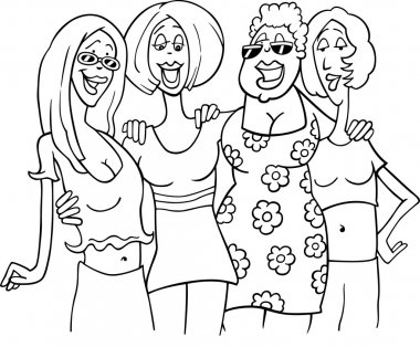 Black and White Cartoon Illustration of Four Women Friends Meeting clip art vector