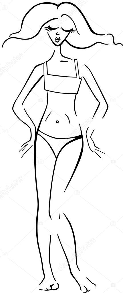 Dibujo bikini para colorear | mujer bonita en bikini o traje de baño ...