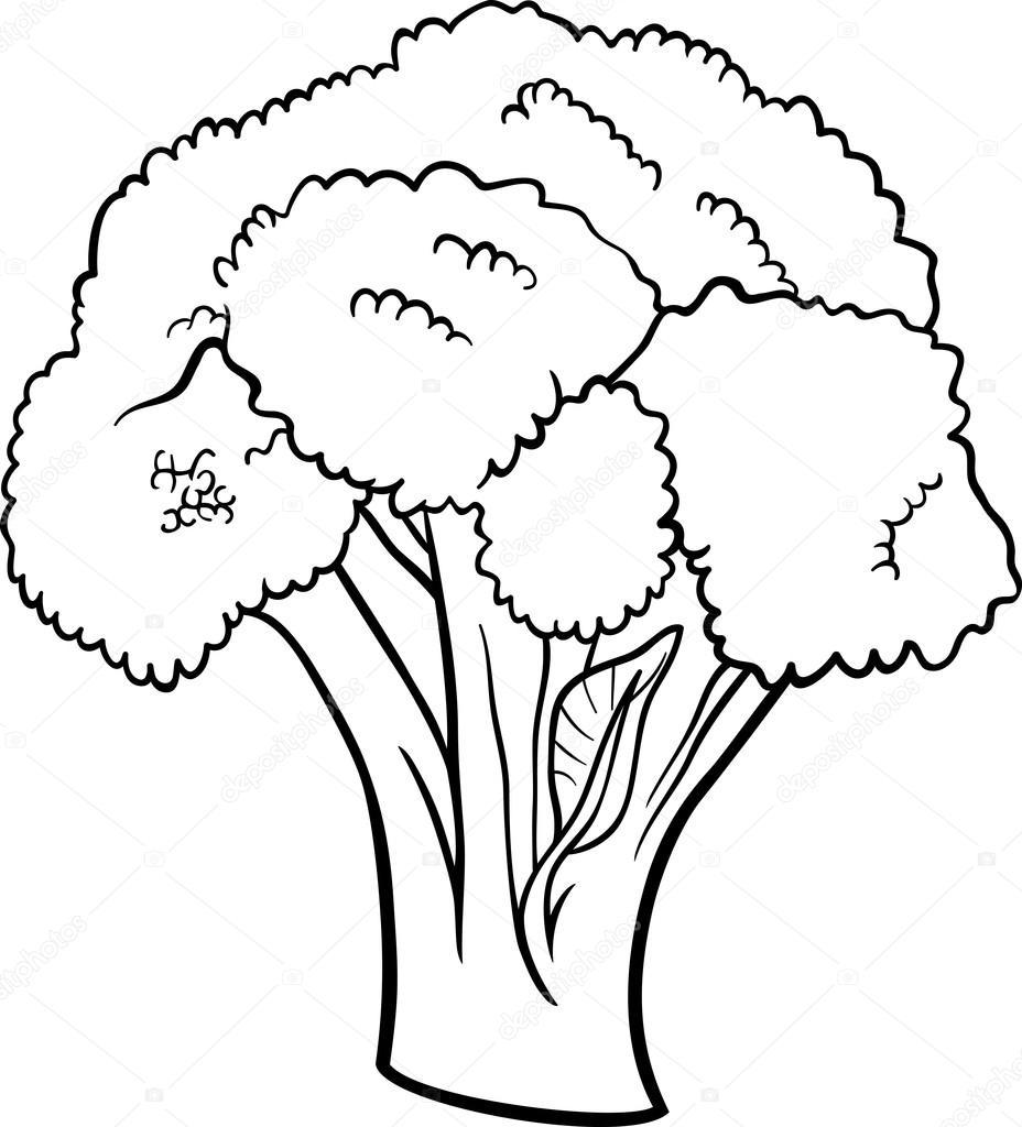 Boyama Kitabı Için Brokoli Sebze Karikatür Stok Vektör Izakowski