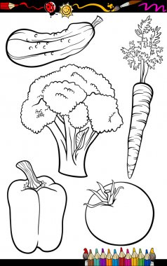 Coloring Book or Page Cartoon Illustration of Black and White Vegetables Food Objects Set clip art vector