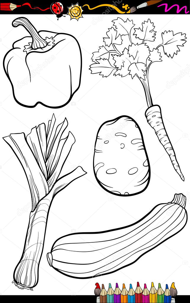 Cartoon Vegetables Set For Coloring Book Stock Vector