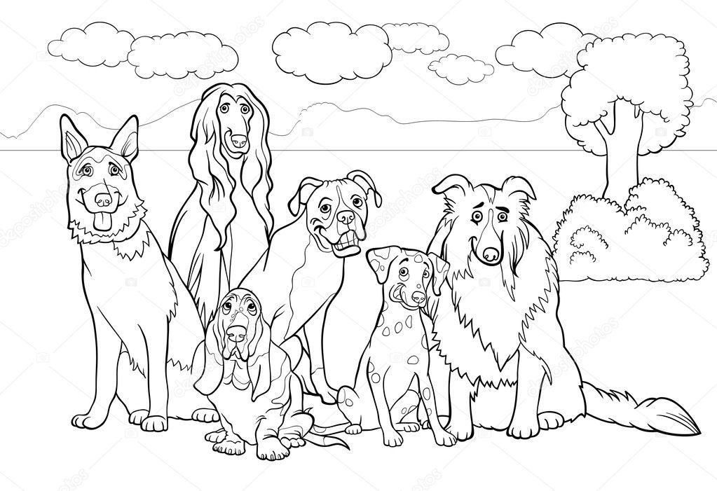 Safkan Köpekler çizgi Film Boyama Kitabı Için Stok Vektör