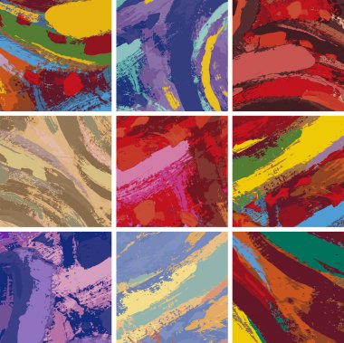 Vector Illustration Set of Abstract Painting Background Design clip art vector